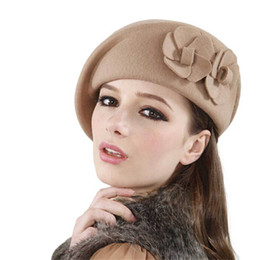 Wholesale wool felt fascinator - Wholesale-Womens Dress Fascinator Wool Felt Pillbox Hat Base Party Wedding Bow Veil Craft Felt French Beret Beanie Felt Pillbox Hat Oc31