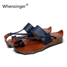 Wholesale Retro Gladiator Sandals - Wholesale-Whensinger 2016 Women Sandals Leather Gladiator Shoes Female Genuine Leather Slippers Summer Beach Retro Casual Fashion 8125