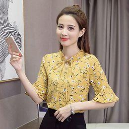 Wholesale Elegant Chiffon Blouse Belt - 2017 Summer New Arrival Fashion Women Tops V Neck Belted Floral Print Half Sleeve Flare OL Elegant Lady Chiffon Blouse Shirt