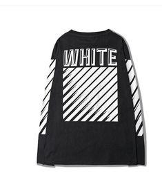 Wholesale Exo Style Shirt - Wholesale Off White Men T-shirt Streetwear Hip Hop Stripe Style EXO GD Mens Full Sleeve O-neck Cotton Printed T Shirts