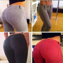 Wholesale Sexy Trousers For Ladies - Ladies Exercise Hot Sexy Package Hip Leggings Women Pants Good Stretch Fitness Trousers Elastic Tight trousers for Bodybuilding or Yoga