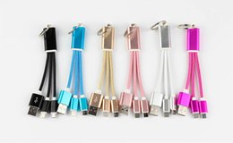 Wholesale Nylon Hdmi Cable - Micro USB nylon keychain data line android mobile phone lightning charging cable 15cm connection two mobile phone copper wire DHL free