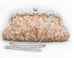 Wholesale Cheap Beaded Bridal Clutch - 2017 Hot Cheap Crystal Beading Bridal Bags with Chain Women Wedding Evening Prom Party Handbag Shoulder Bags Clutch Bags High Quality