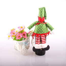 Wholesale Christmas Socks Decorate - Christmas Red Wine Bottle Bag Stripe Spirit Style Festival Party Decorate Articles Bottles Cover Hot Sale 3 55sn J R