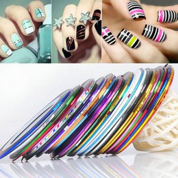 Wholesale gel sticker decoration - 30pcs Rolls Striping Tapes Colorful Line Nail Stickers DIY Nail Art Kit Manicaure Beauty decorations for UV Gel Nail Polish