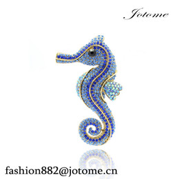 Wholesale Tibet Horse - 100PCS Lot 2017 Animal Sea Horse Brooch Pins for Bridal Wedding Rhinestone Crystals Brooches For Women Jewelry Silver Tone Free Shipping