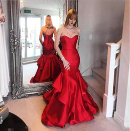 Wholesale Nude Corsets - 2017 Red Mermaid Prom Dresses Elegant Sweetheart Corset Back Long Evening Dresses Junior Cheap Formal Party Pageant Gowns Floor Length