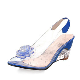Wholesale Open Toe Jelly Wedges - Summer Sandals Women Peep Toe Wedge Sandals Flowers Sweet Jelly Shoes Woman Shoes For Lady