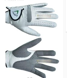 Wholesale Genuine Leather Gloves Wholesale - Wholesale- Brand men Golf glove guantes lamb genuine soft Lambskin leather breathable durable Non-slip Golf gloves right left hand luvas
