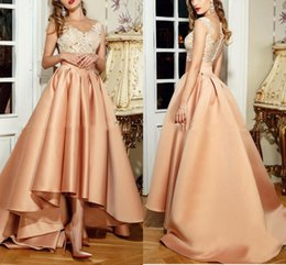 Wholesale China Carpets - Hi Lo Champagne Dress Evening Wear 2017 Sheer Neck Lace Top Prom Dresses Illusion Back Floor Length Formal Evening Gowns Made In China