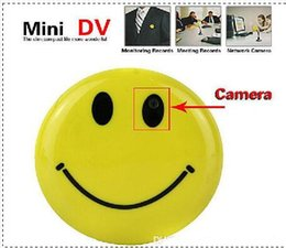 Wholesale Cctv Cameras Cars - Mini HD 720P Smiley Smile Face Brooch Broach Hidden Pinhole spy Camera Camcorder Cam Video DVR Recorder CCTV Car DVR