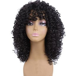 Cut synthetische perücke online-Long Afro Kinky Curly Synthetic Wigs For Women Pixie Cut Wig Natural Black Hair Cosplay Peruki Damskie Kanekalon