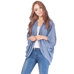 Wholesale Brown Open Jacket Women - Wholesale-Autumn Women Cardigan Casual Knitted Sweater Coat Knitwear Loose Batwing Half Sleeve Shawl Knit Jacket Outwear Tops Open Stitch