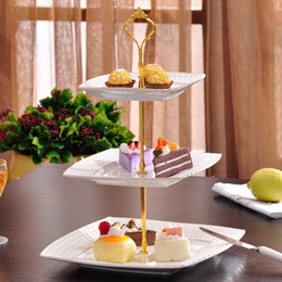 Wholesale Silver Cake Stand Fittings - 6colors 1 Sets 2 or 3 Tier Cake Plate Stand Handle Crown Fitting Metal Wedding Party Silver Gold
