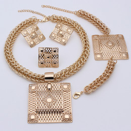 Wholesale Costume Big Necklace Sets - Bridal Gift Nigerian Wedding African Beads Jewelry Set Fashion Dubai Silver Gold Plated Jewelry Set Costume Design Big Necklace