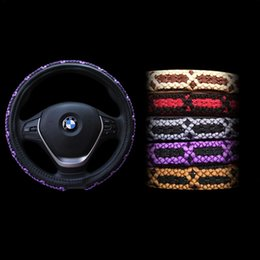 Wholesale Chinese Silk Velvet - Car Steering Wheel Covers Creative Ice silk Chinese knot Steering Wheel Covers Anti-slip comfortable steering wheel Car Decoration