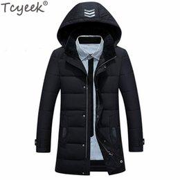Wholesale Casaco Inverno Masculino - Tcyeek Warm Long Men's Down Jacket Winter Slim 90% Jackets Goose Feather Plus Size 4XL Black Casaco Masculino Inverno CJ297