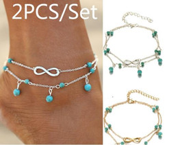 Wholesale Sexy Feet Set - Sexy Infinity Pearl Turquoise Crystal Pendant Chain Anklet Bracelet Trendy All-match Alloy Foot Anklets Women's Fashion Jewelry Set Gifts