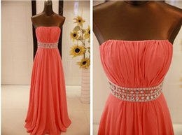 Wholesale Colored Cheap Wedding Dresses - Water Melon Chiffon Prom Gowns Strapless Coral Colored And Purple Long Cheap Bridesmaid Dresses Wedding Guest Dresses Evening Wear