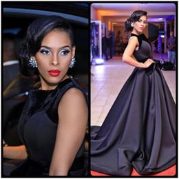 Wholesale Elegant Big Size Dress - Elegant Black A Line Prom Dresses 2017 Big Bow Satin Sleeveless Formal Evening Dresses Party Dresses vestido de festa