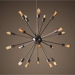 Wholesale Wrought Iron Pendant Lighting - Satellite chandeliers Vintage wrought iron pendant light Spherical Spider lamp E27 Edison pendant lighting Bar Coffe Lighting