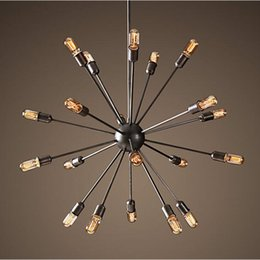 Wholesale Edison Chandeliers - Satellite chandeliers Vintage wrought iron pendant light Spherical Spider lamp E27 Edison pendant lighting Bar Coffe Lighting
