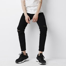 Wholesale Moustache S - Wholesale- YINOS Black Knee Hole Ripped Moustache Distressed Men Jeans Ankle-Length High Stretch Skinny Trousers Slim Fit Pants Street 20