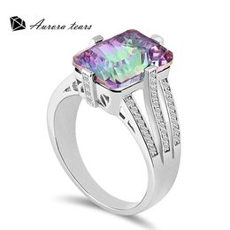 Wholesale Rainbow Crystal Gemstone - New Fashion Jewelry 925 Sterling Silver Women Elegant Cocktail Rings Multicolored Rainbow MysticTopaz Crystal Gemstone Excellent Quality