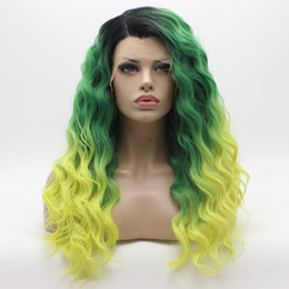 Wholesale root light - Iwona Hair Lace Front Synthetic Wig Curly Long 24inch Dark Root Green Light Golden Ombre Wig 32#112 Stylish Wig