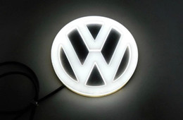 Wholesale volkswagen golf red - 4D car led emblem logo symbols badge emblem 12V white blue red color diameter 110mm