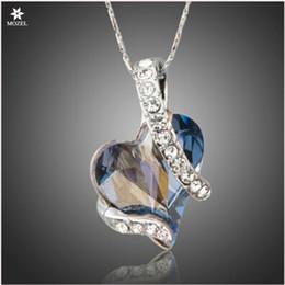 Оптовая MOZEL Swarovski элементы навсегда Любовь светло-голубое сердце австрийский Кристалл классический кулон ожерелья Для День Святого Валентина любовь подарок от
