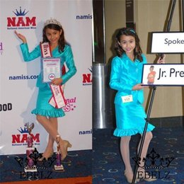 Wholesale Junior Dresses For Pageants - 2016 Fashion Custom Made Satin Girls Pageant Interview Suits Dresses With Long Sleeve Jacket Knee Length For Junior Teens