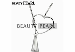 Wholesale Necklace Pendant Blanks - 5 Pieces Sterling 925 Silver Box Chain Heart Pendant Mounting Necklace Jewellery Necklace Blank Settings for Pearls