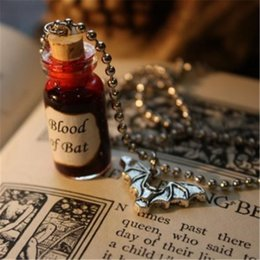 Wholesale Vampire Bats - 12pcs lot Glass Vial Necklace Blood of Bat Vampire Necklace Halloween Jewelry