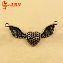 Wholesale Jewelry Necklace Connector Pieces - 61*33MM Antique Bronze Retro big love heart wings charm connector beads connecting piece new Korean jewelry, necklace pendants