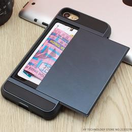 Carte de crédit couvre le plastique en Ligne-Armure Téléphone cas pour iPhone 5S SE 5 5C 6 S 6 S 7 Plus luxe Shell Silicone Titulaire de la Carte de Crédit En Plastique Slide Wallet Case Cover