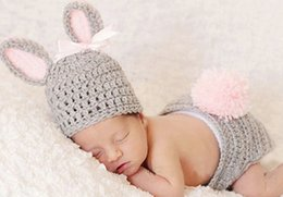 Wholesale crochet photo props - Hot Sale Hand Woven Character Photography Clothes Newborn Baby Pictures Baby Hat Crochet Wild Children Photo Props Free Shipping