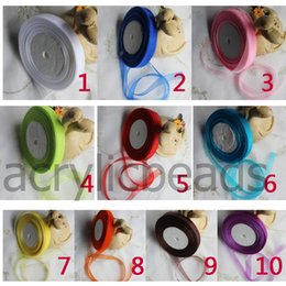 Wholesale Wholesale Organza Cord Necklaces - 12mm Organza Ribbon Satin Cord Gift Wrapping Pendant Necklaces Roll Craft Bow for Wedding Supply Decor Colors 50Yards