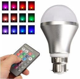 Wholesale Led Controller Living Room - Adjustable RGB Color Changing LED Light Bulb B22 Bayonet for living room, dining room, bedroom With IR Remote Controller