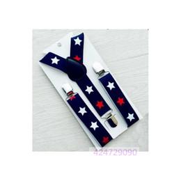 Wholesale Army Pants Girls - Wholesale- Boys Girls Kids Children Toddlers Navy Blue Pants Stars Pattern Y-Back Metal Clips Braces Adjustable Elastic Suspenders YHH0047