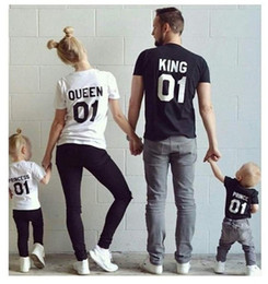 Wholesale Mother Son Clothes - New Family King Queen Letter Print tshirt Mother and Daughter father Son Clothes Matching Princess Prince