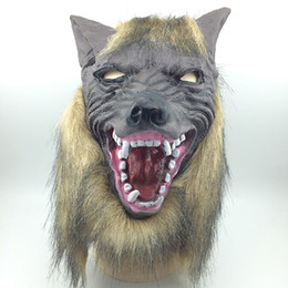Wholesale Wolf Man Masquerade Mask - High Quality Scary Masquerade Latex Party Mask New Party Halloween Latex Customized Overhead Latex wolf Mask