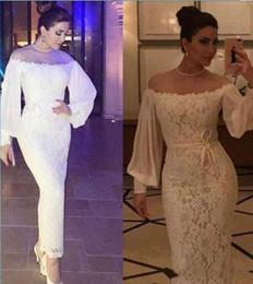 Wholesale Sheer Ankle Length Robe - Long Sleeve White Lace Arabic Women Evening Party Dresses Sheath Evening Gowns Sheer Neck robe de soiree Ankle Length vestidos de festa