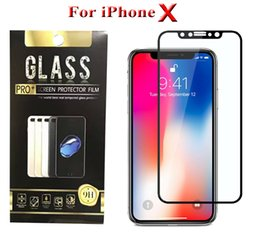 Wholesale Silk Glasses Box - 3D 5D Curved Tempered Glass for iPhone X 8 Plus Full Cover 9H Screen Protector Film Silk Print Glass with Retail Packaging Box