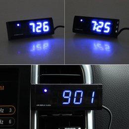 Wholesale Automotive Clocks - Wholesale- Auto New Automotive Electronic Thermometer Clock Car Voltage Blue LED Noctilucent Dec14