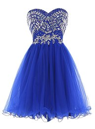 Wholesale Champagne Cocktail Dresses Sweetheart - Royal Blue Tulle Prom Dresses Sweetheart Crystal Beadings Short Party Dresses Homecoming Dresses robe de Cocktail