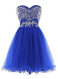 Wholesale Short Blue Sweetheart Tulle Dress - Royal Blue Tulle Prom Dresses Sweetheart Crystal Beadings Short Party Dresses Homecoming Dresses robe de Cocktail