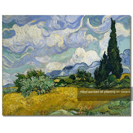 Wholesale Van Gogh Framed Oil - Wheat Field with Cypress,Pure Hand Painted Van Gogh Impression Art Oil Painting On Quality Canvas.Multi sizes Vg006