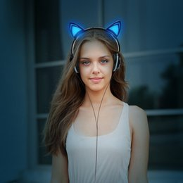 Wholesale Ear Hook Computer Earphone - Foldable Flashing Glowing Cute Cat Ear Headphones Gaming Headset Earphone with LED light For PC Laptop Computer Mobile Phone
