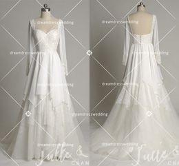 Wholesale Halter Wedding Dress Strapless - 2017 New Romantic Beach A-line Wedding Dresses Irregular Chiffon Halter Button Cheap Maternity Bridal Gowns Long Sleeves Trailer Decals